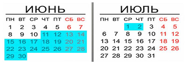 календарь белых ночей в Санкт-Петербурге